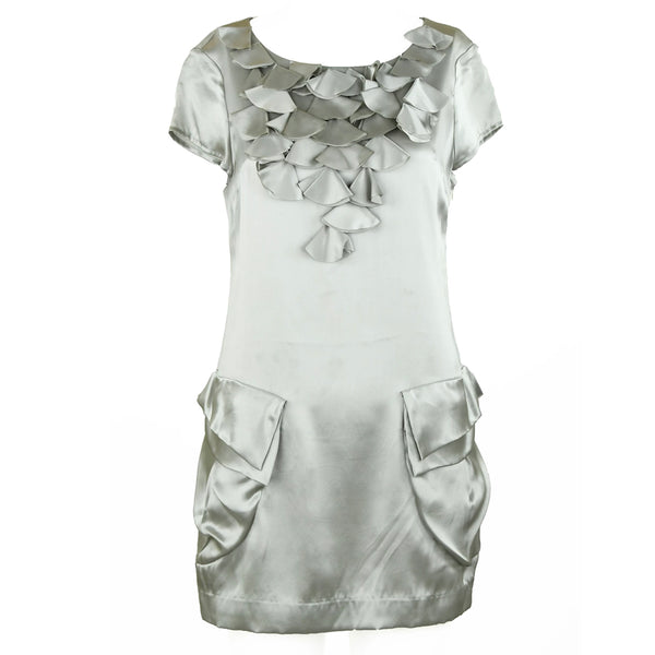 Chloe Gray Silk Charmeuse Shift Dress