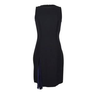 Christian Dior Dress Black Navy Pleated Inset Detail fits 8