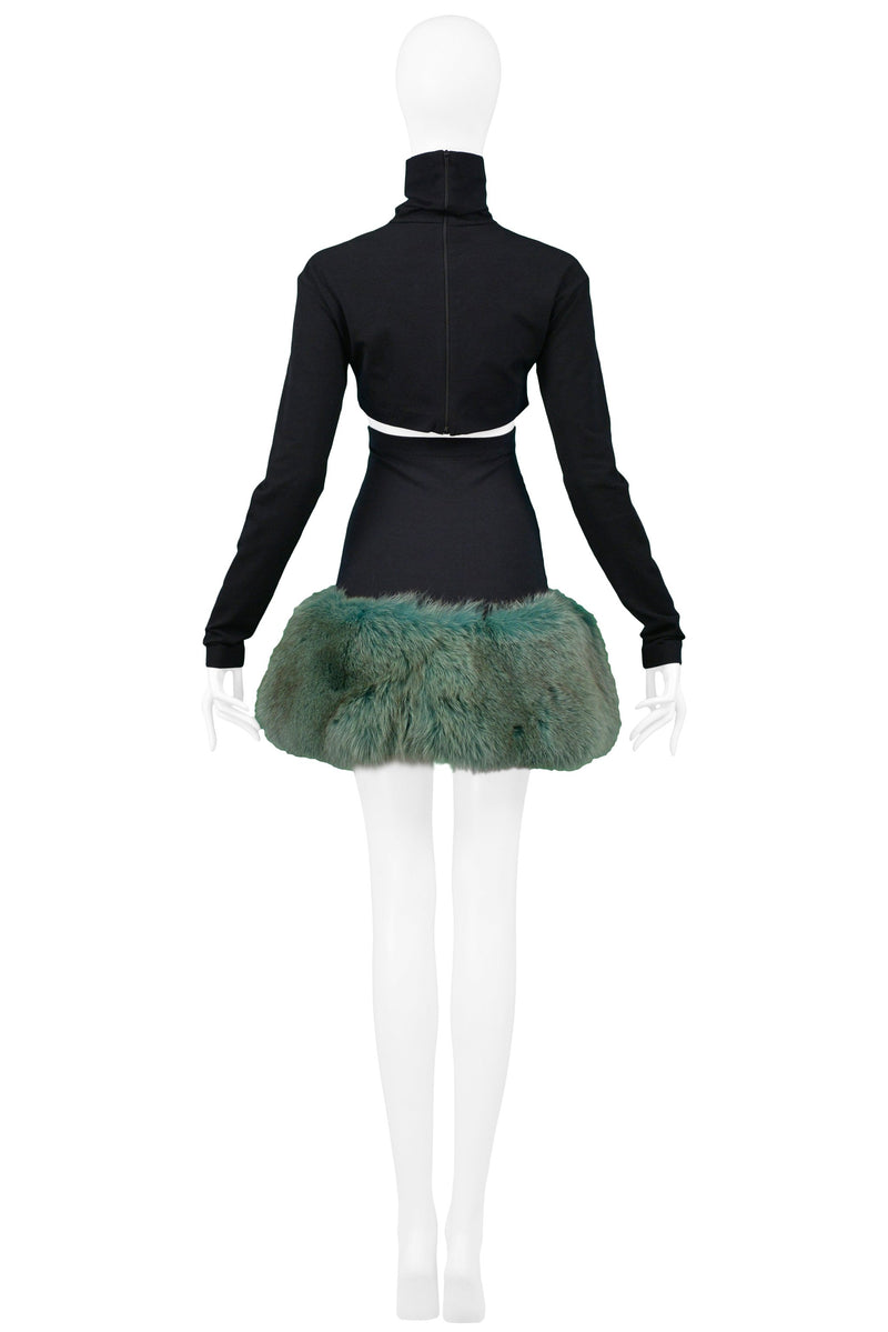 COMPLICE CROP TOP & GREEN MINK FUR SKIRT ENSEMBLE