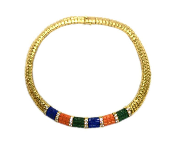 Van Cleef & Arpels Lapis Malachite Coral Gold Set