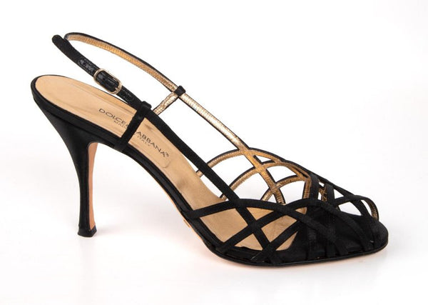 Dolce&Gabbana Shoe Strappy Black Satin Mint 39.5 / 9.5