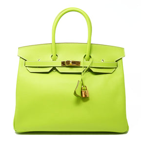 Hermes Birkin Bag 35cm Candy Kiwi with Gold Hardware