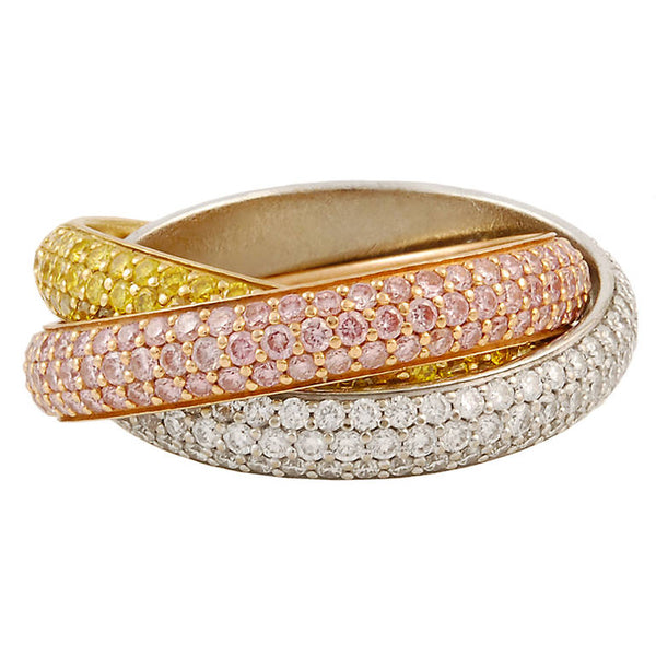 Cartier Pink, Yellow and White Diamond Trinity Ring