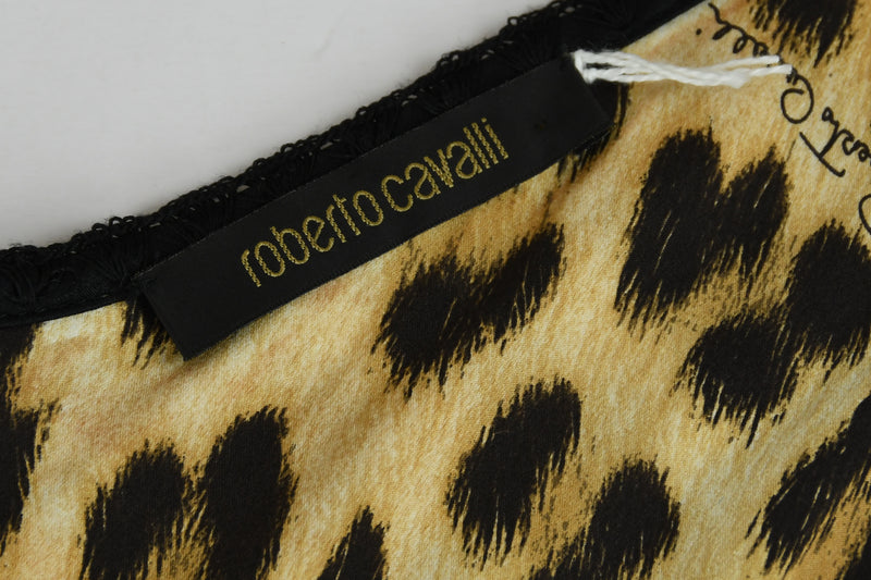 Roberto Cavalli Leopard Print Silk Charmeuse Dress