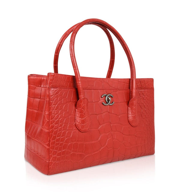 Chanel Bag Matte Alligator Cerf Tote Red Rose New