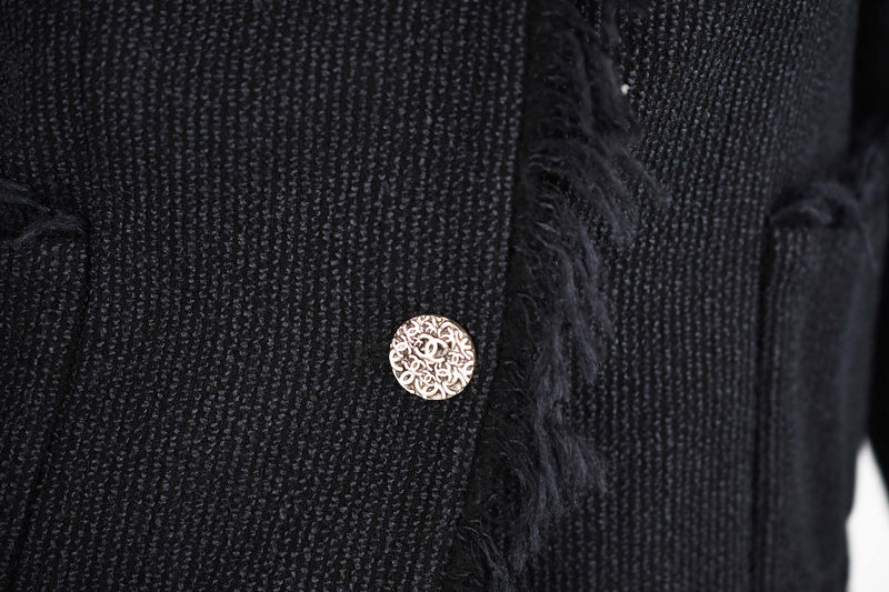 Chanel Black Wool Blazer with Silver Buttons