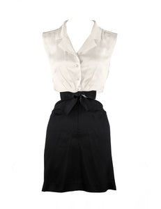 Vintage Chanel Silk Charmeuse Black & White Dress