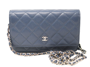 Chanel Small Blue Caviar Clutch / Wallet on a Chain