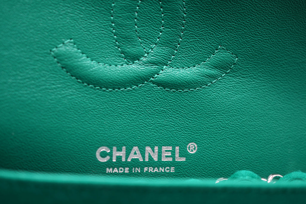 9a693d9785ad Chanel Emerald Green Jersey Knit Classic Double Flap Bag