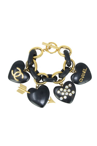 Chanel Gold and Black Wooden Charm Bracelet