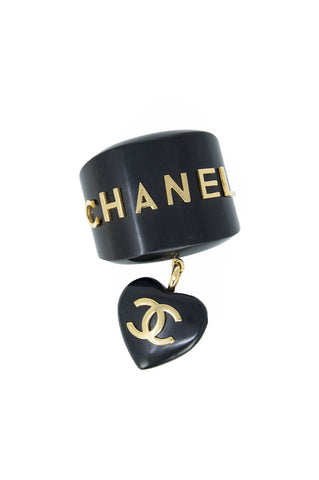 Chanel Gold & Black Wooden Cuff