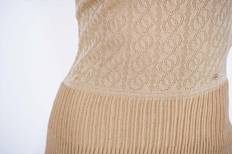 Chanel Gold Knit Two Tiered Dress