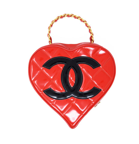 Vintage Chanel Bright Red Heart Shaped Quilted Bag