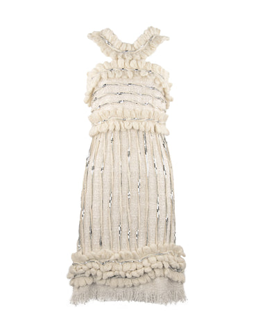 Chanel Ivory Dress with Silver Sequins - Size FR 38
