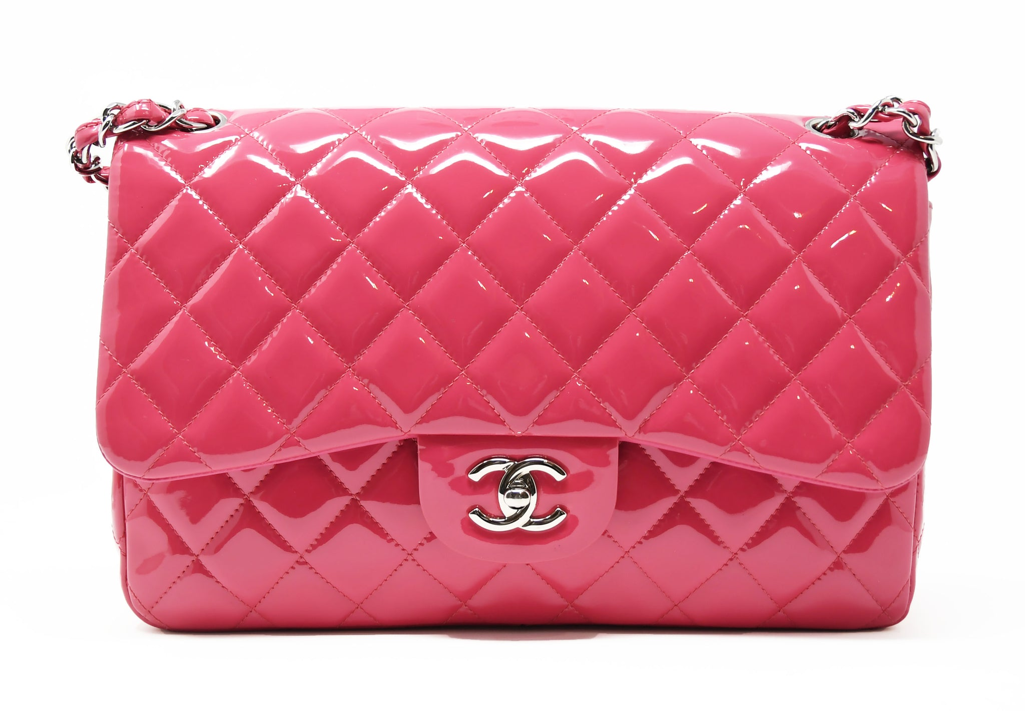 Chanel Jumbo Double Fold Bag in Pink Patent Leather