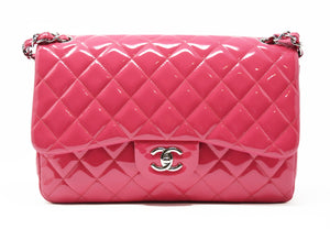 Chanel Pink Patent Leather Quilted Lambskin Jumbo Double Fold Bag