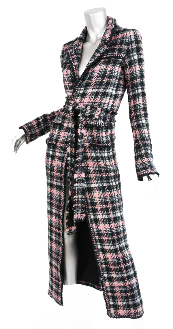Chanel Long Multi Colored Tweed Coat