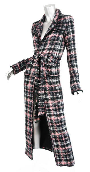 Chanel Long Multi Colored Tweed Coat - FR 34