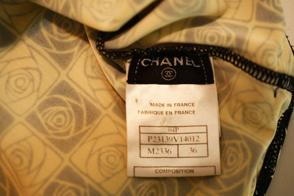 Vintage Chanel Checkered Rose Print Lycra Dress - Size FR 36