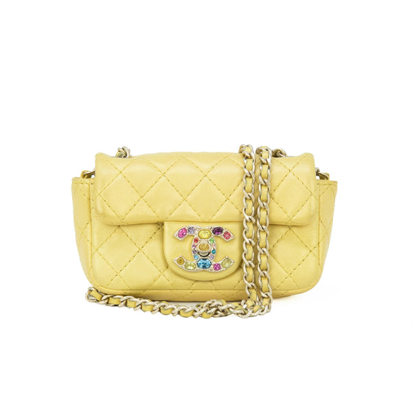 Chanel Mini Yellow Double Flap Bag with Rhinestone Hardware