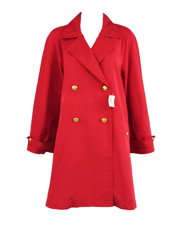 Chanel Vintage Red Rain Coat with Gold Buttons