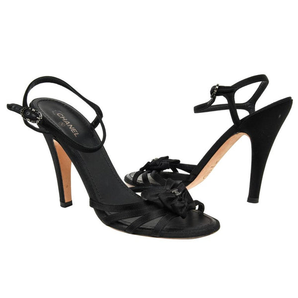 Chanel Shoe Black Peau de Soie Strappy 40.5 / 10.5