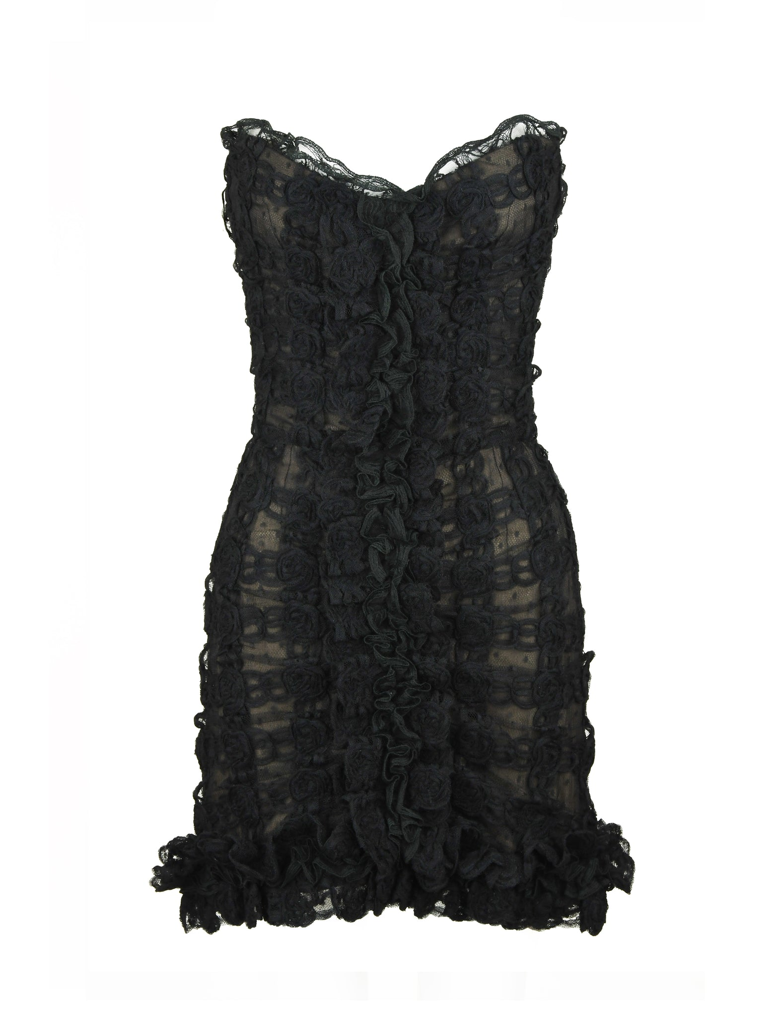 Vintage Chanel Black Strapless Lace Dress