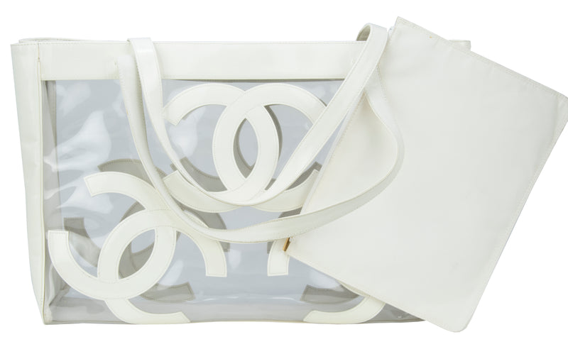 Vintage Chanel Jumbo White Patent Leather & PVC Tote