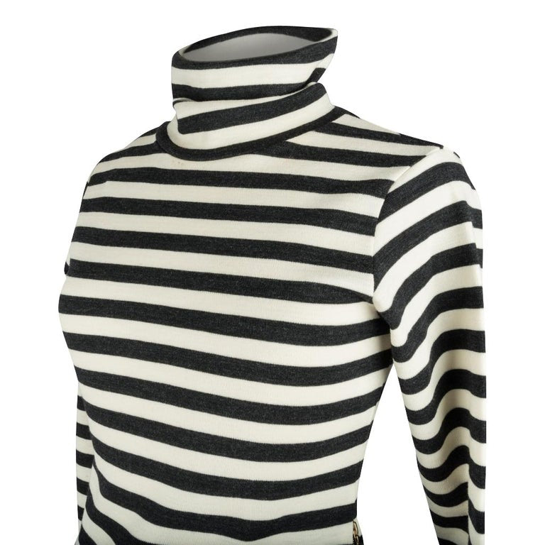 Chloe Top Striped Graphite and Vanilla Turtleneck Side Zip XS nwt