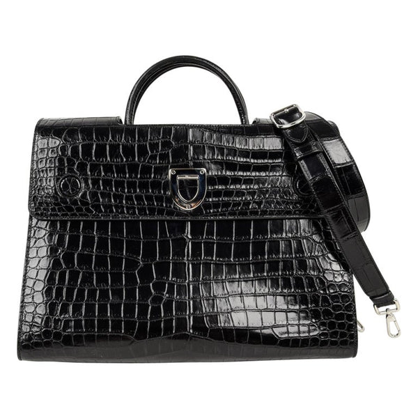 Christian Dior Bag Diorever Matte Black Crocodile Tote Shoulder Strap Mint
