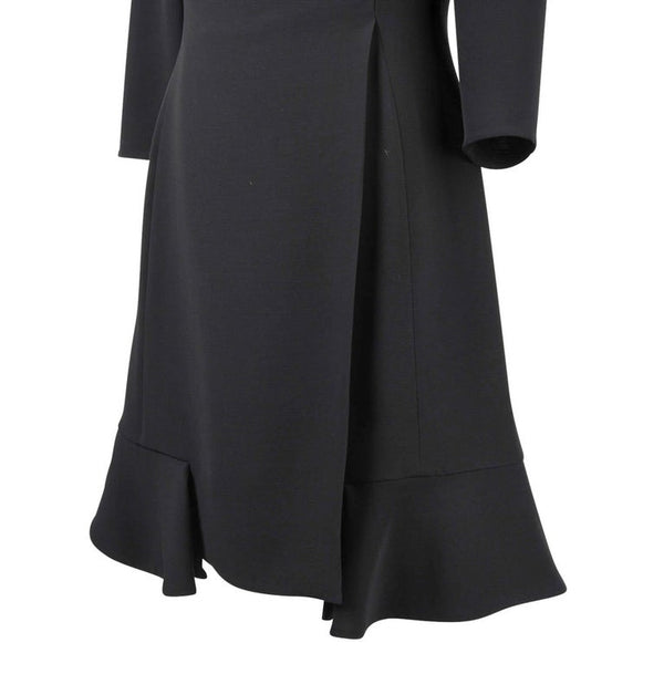 Christian Dior Black Dress Ruffle Hem 3/4 Sleeve 8