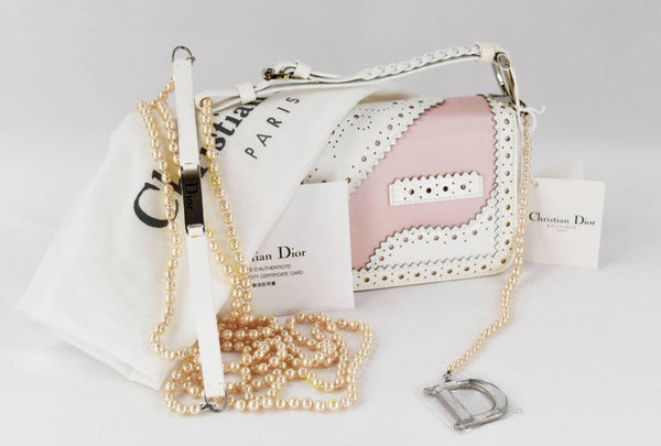 Christian Dior Pink and White Patent D'Trick Shoulder Baguette Style Bag
