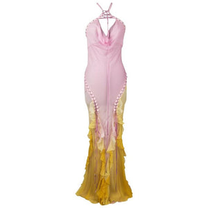 Christian Dior Dress Pink Ombre to Yellow Silk Chiffon Halter Lace Up 40 / 8