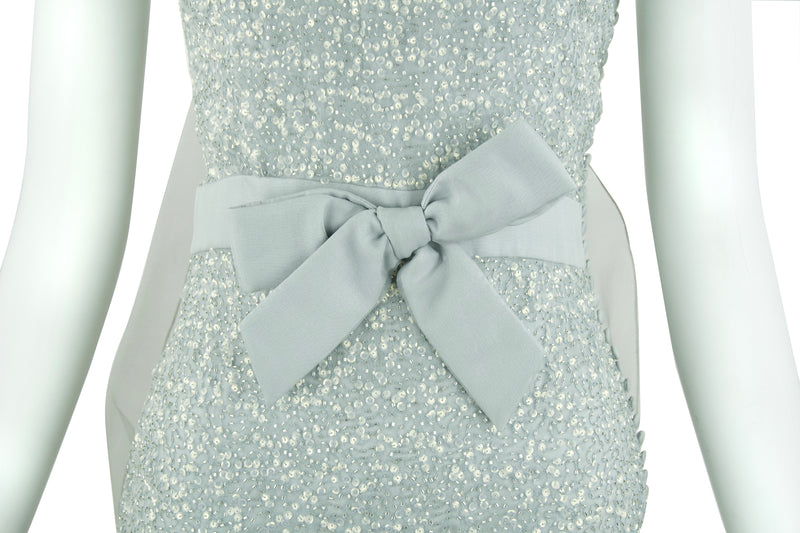 Christian Dior Silver Sequin Dress with Bows