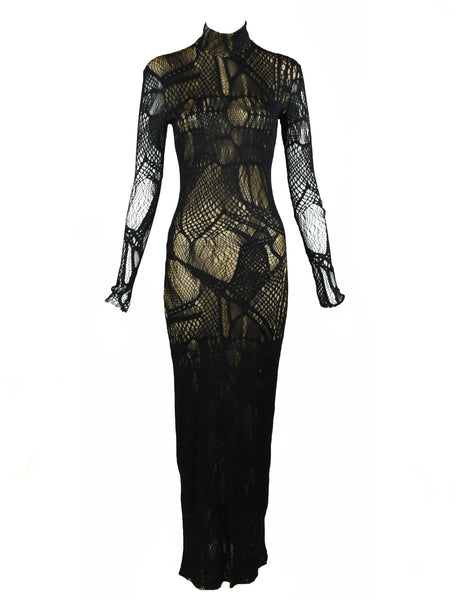 Vintage Christian Lacroix Black Mesh Gown with Gold Slip - Size XS/S
