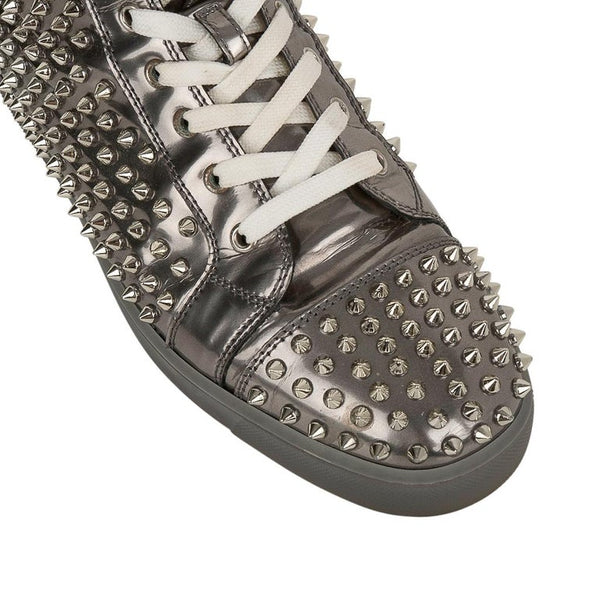 Christian Louboutin Men's Louis Flat Antispecchio Spike Gray Silver 43 / 10