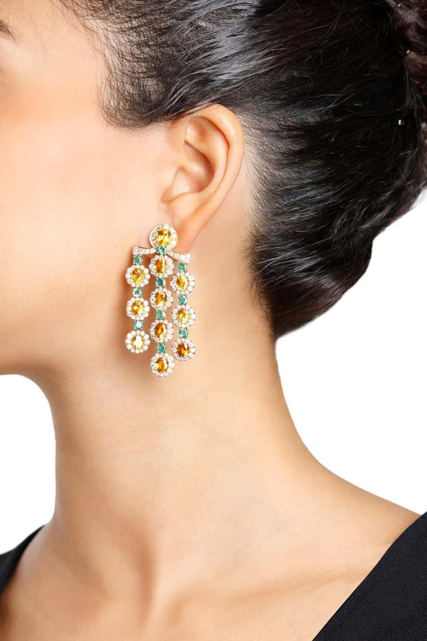 Citrine, Emerald, and Diamond Chandelier Earrings