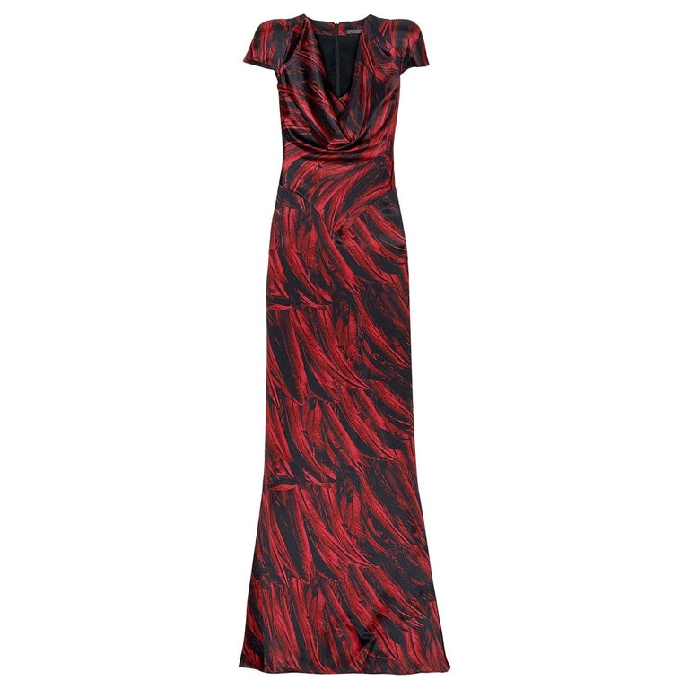 Collectible 2009 Alexander McQueen Feather Print Silk Gown
