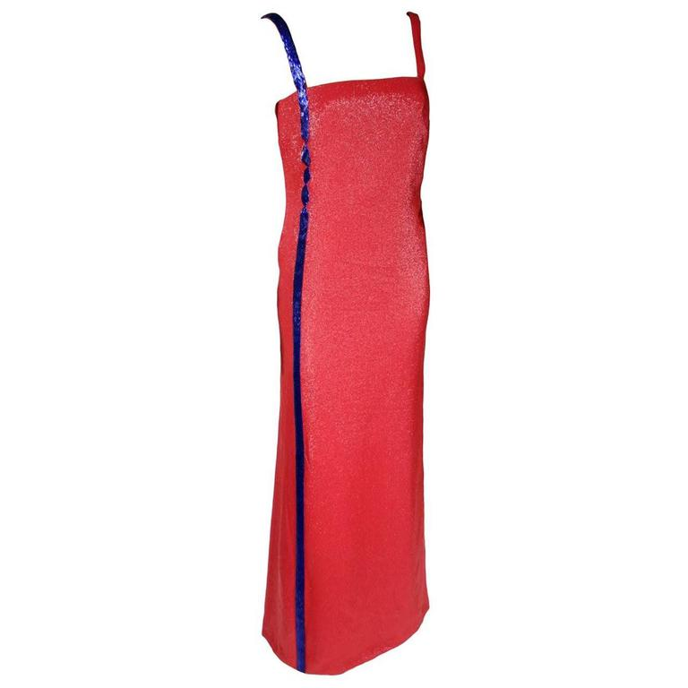 Collectible A/W 1997 GIANNI VERSACE COUTURE EMBELLISHED RED GOWN