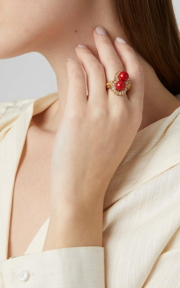 Coral Diamond Ring