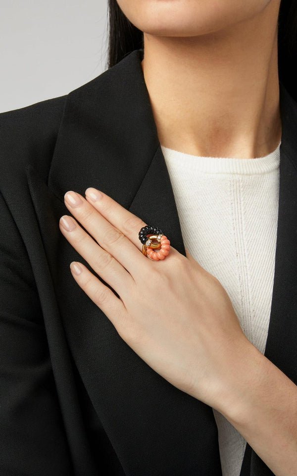 Coral Onyx Diamond Ring