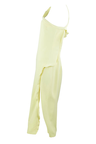 Cushnie et Ochs Light Yellow One Shoulder Dress with Ruffle Detail