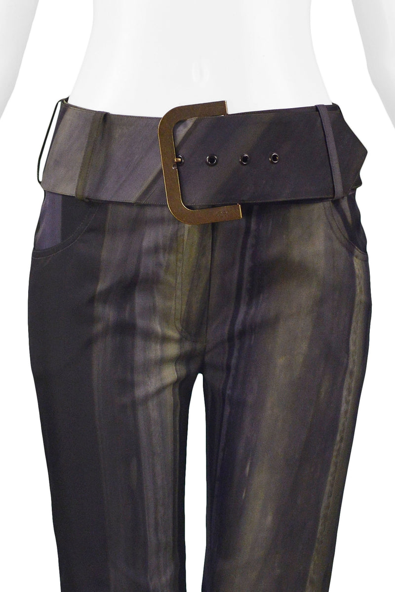 DIOR OLIVE GREEN OVER DYE BOOT CUT TROUSERS 2001