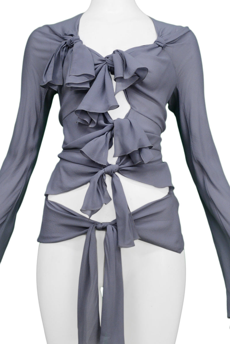 DIOR BY GALLIANO GREY MULTI-TIE BLOUSE