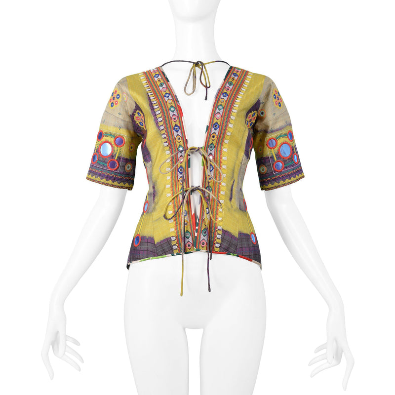 DIOR MULTICOLOR PATCHWORK & LACE UP TOP 2002