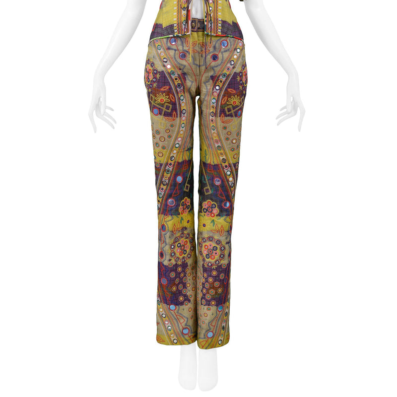 DIOR MULTICOLOR PATCHWORK & LACE UP PANT 2002