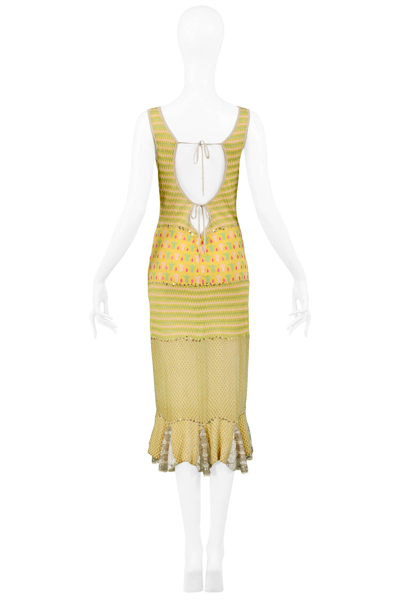 DIOR YELLOW PATCHWORK EMBROIDERED & BEADED DRESS
