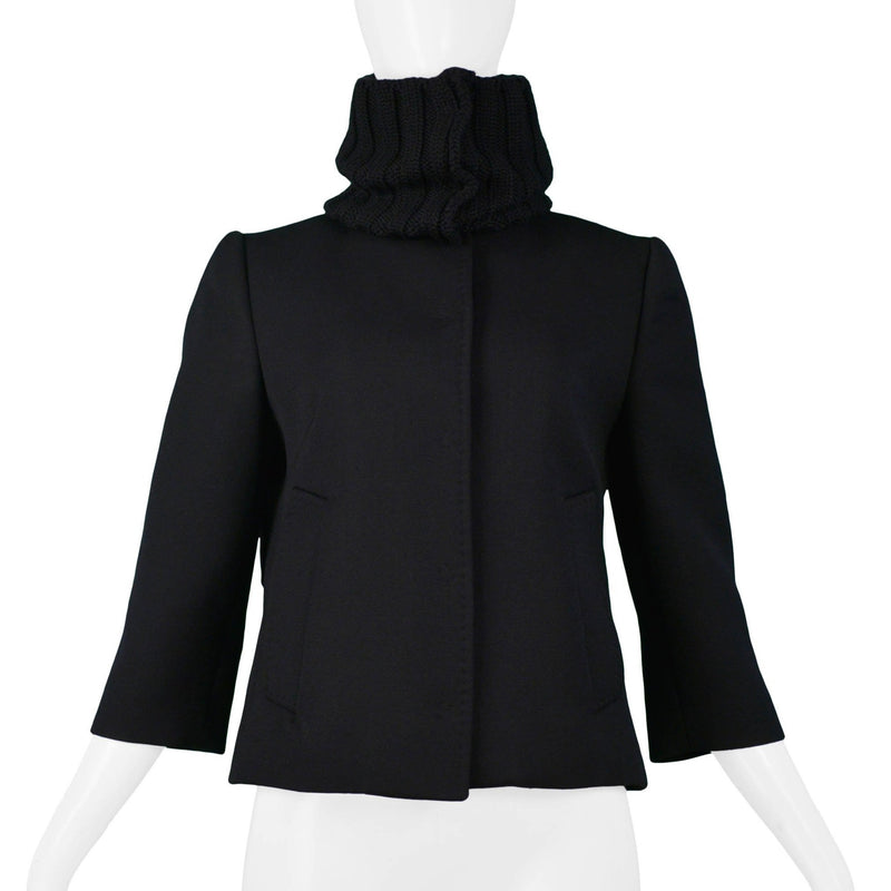DOLCE BLACK WOOL JACKET WITH RIB KNIT COLLAR
