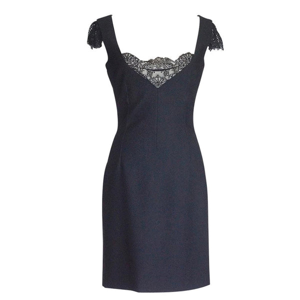 Dolce&Gabbana Dress Lace Inset Deep V Superb Fit 44 / 8