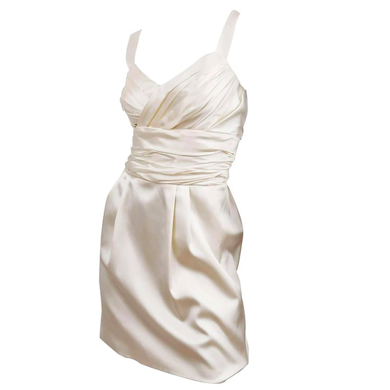 Dolce & Gabbana Silk Cocktail Dress in Ivory